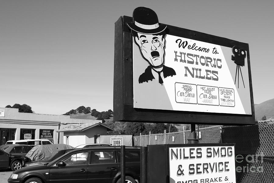 Historic Niles District In California Near Fremont . Welcome To Niles Sign . 7d10603 . Bw Photograph  - Historic Niles District In California Near Fremont . Welcome To Niles Sign . 7d10603 . Bw Fine Art Print