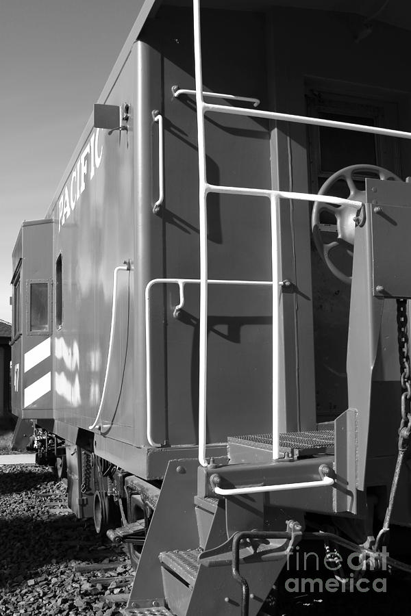 Historic Niles District In California Near Fremont . Western Pacific Caboose Train . 7d10622 . Bw Photograph  - Historic Niles District In California Near Fremont . Western Pacific Caboose Train . 7d10622 . Bw Fine Art Print