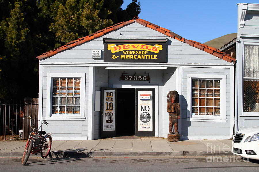 Historic Niles District In California.motorized Bike Outside Devils Workshop And Mercantile.7d12727 Photograph  - Historic Niles District In California.motorized Bike Outside Devils Workshop And Mercantile.7d12727 Fine Art Print
