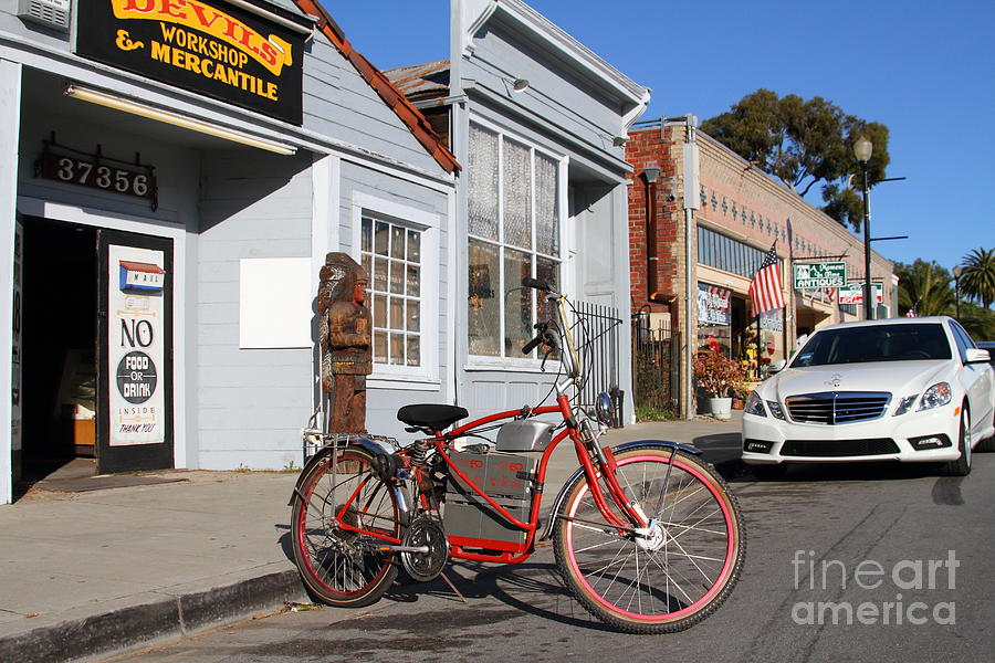 Americana Photograph - Historic Niles District In California.motorized Bike Outside Devils Workshop And Mercantile.7d12729 by Wingsdomain Art and Photography
