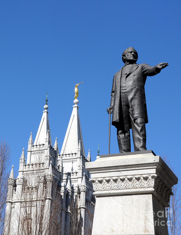 Lds Photograph - Historic Salt Lake Mormon Lds Temple And Brigham Young by Gary Whitton