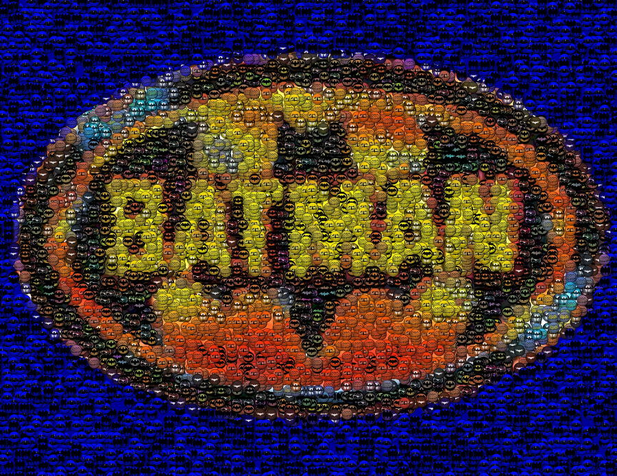 History Of Batman Mosaic Digital Art  - History Of Batman Mosaic Fine Art Print