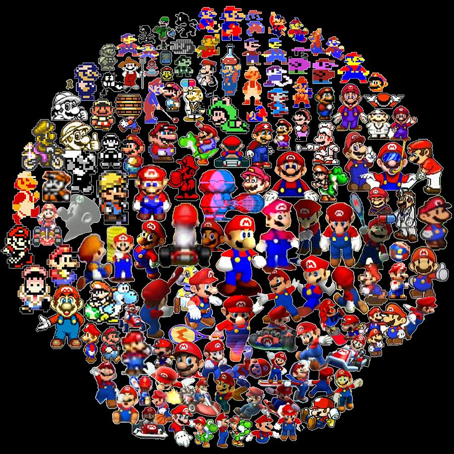 History Of Mario Mosaic Digital Art  - History Of Mario Mosaic Fine Art Print