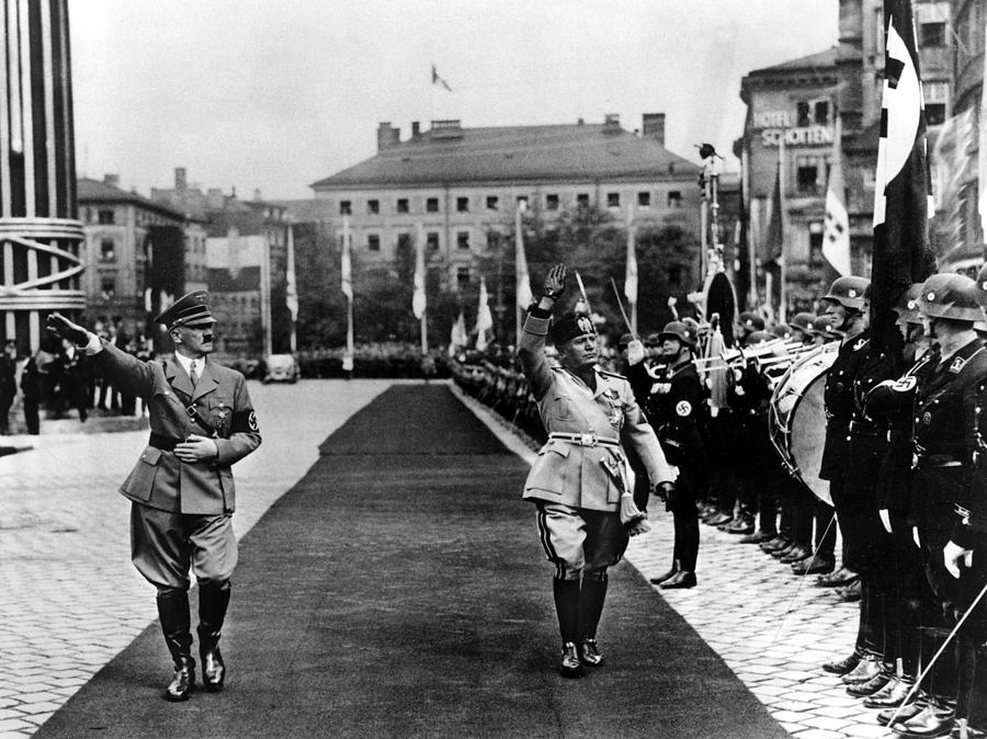 Hitler And Mussolini Inspect A Guard Photograph