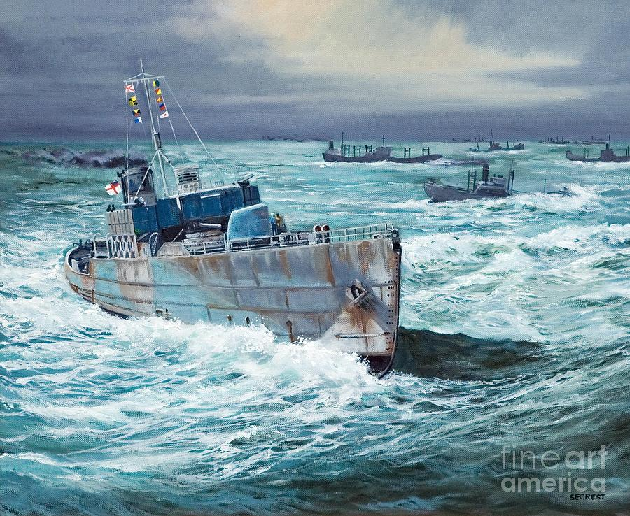 Hms Compass Rose Escorting North Atlantic Convoy Painting  - Hms Compass Rose Escorting North Atlantic Convoy Fine Art Print