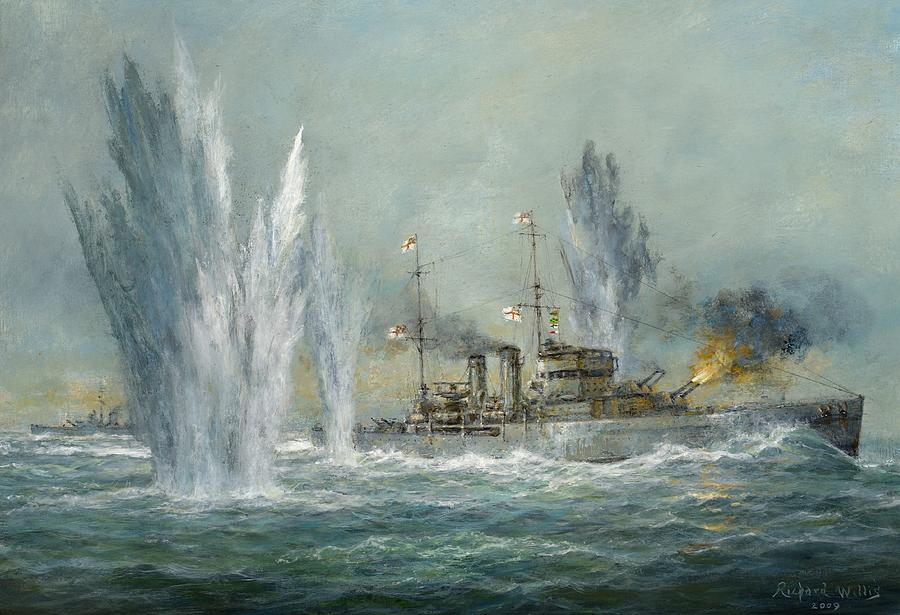 Hms Exeter Engaging In The Graf Spree At The Battle Of The River Plate Painting  - Hms Exeter Engaging In The Graf Spree At The Battle Of The River Plate Fine Art Print