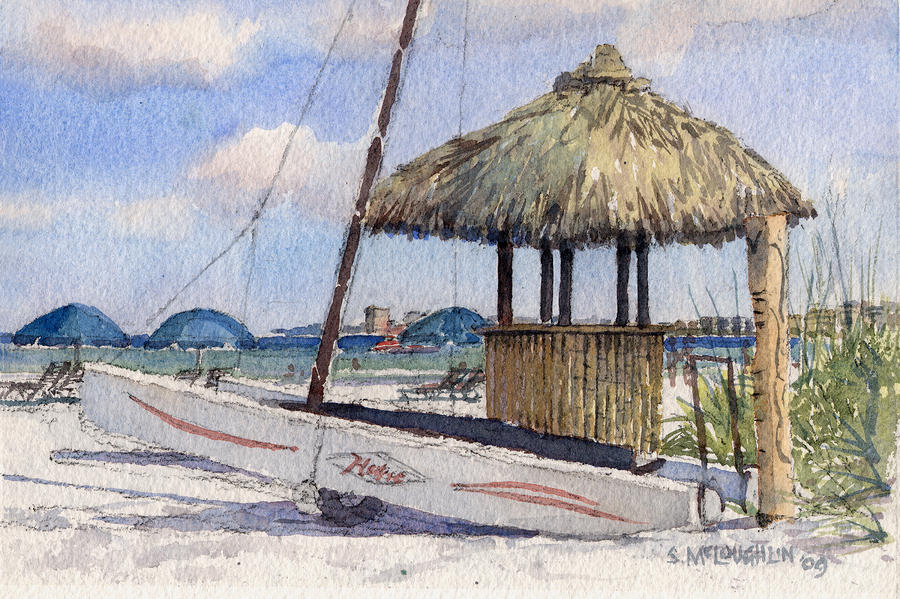 Hobie And Tiki On Crescent Beach Painting  - Hobie And Tiki On Crescent Beach Fine Art Print