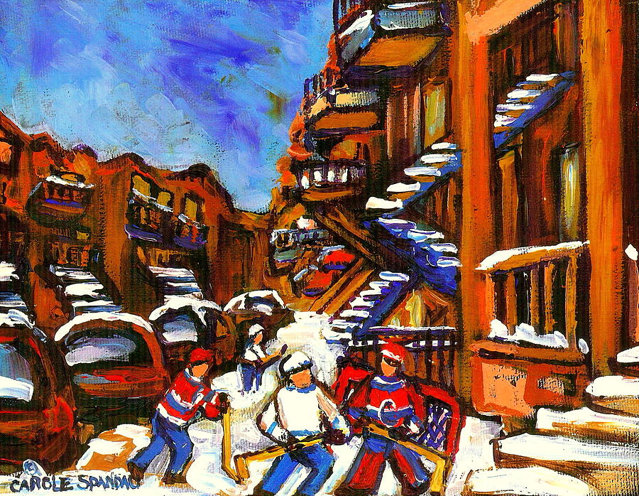 Hockey Art Boys Playing Street Hockey Montreal City Scene Painting  - Hockey Art Boys Playing Street Hockey Montreal City Scene Fine Art Print