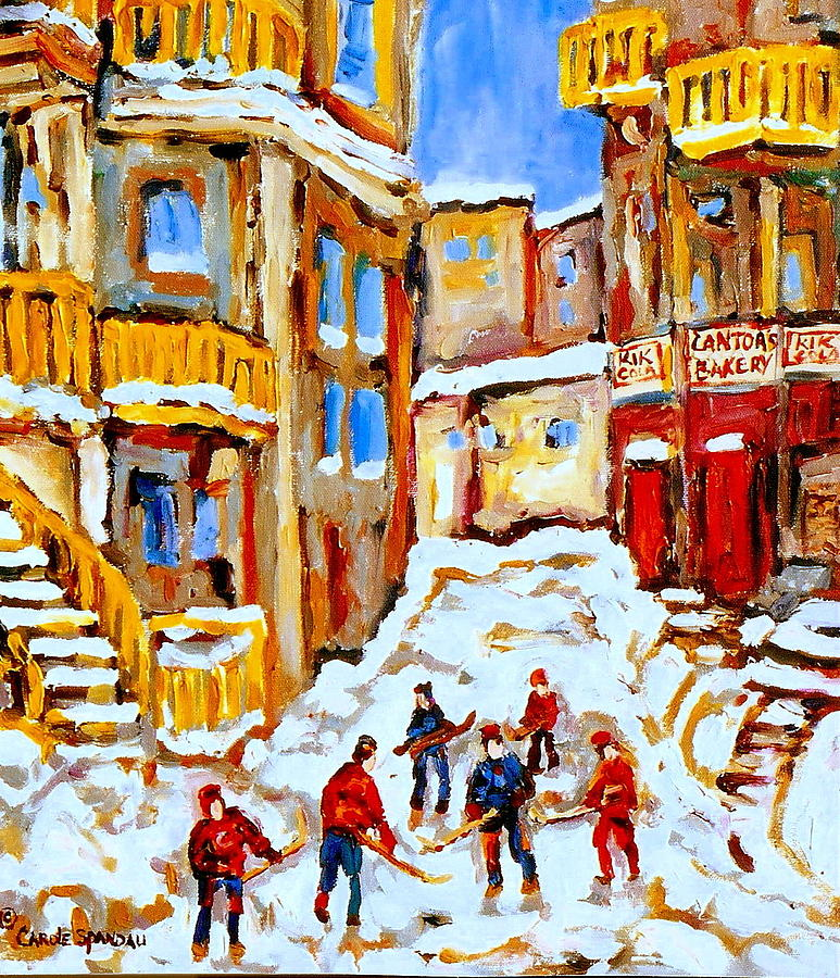 Hockey Art Montreal City Streets Boys Playing Hockey Painting