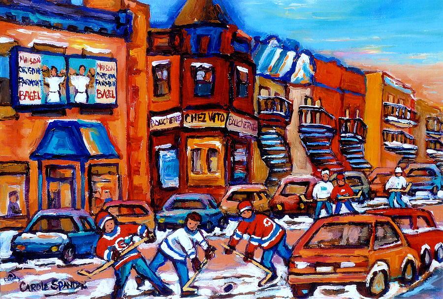 Hockey At Fairmount Bagel Painting