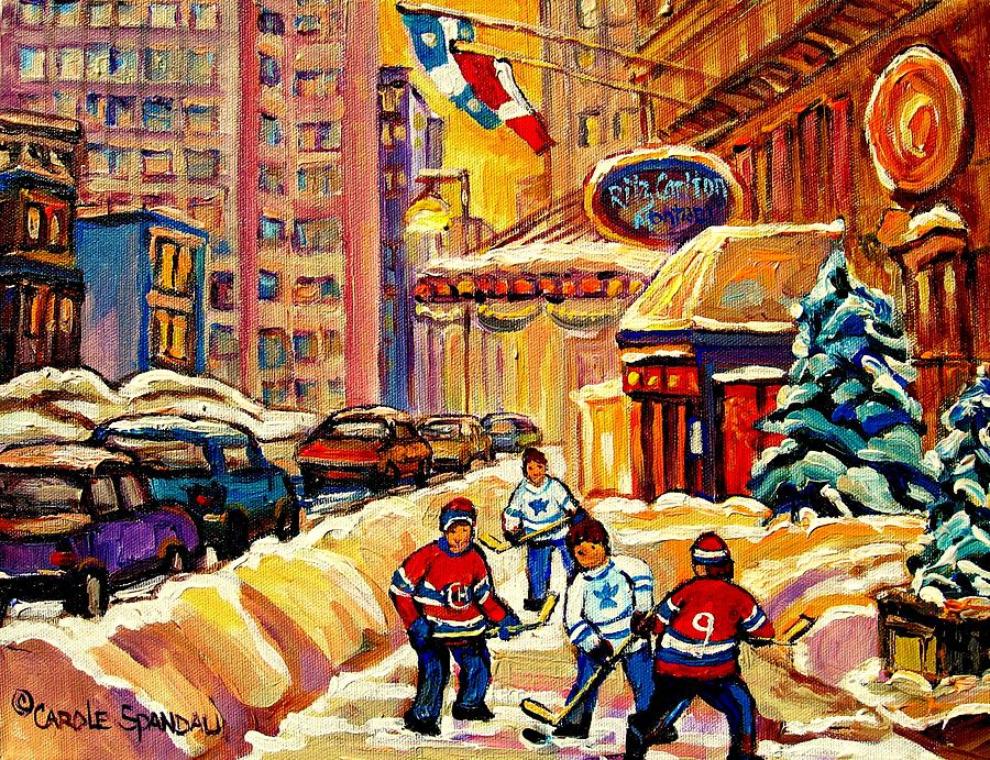 Hockey Fever Hits Montreal Bigtime Painting  - Hockey Fever Hits Montreal Bigtime Fine Art Print