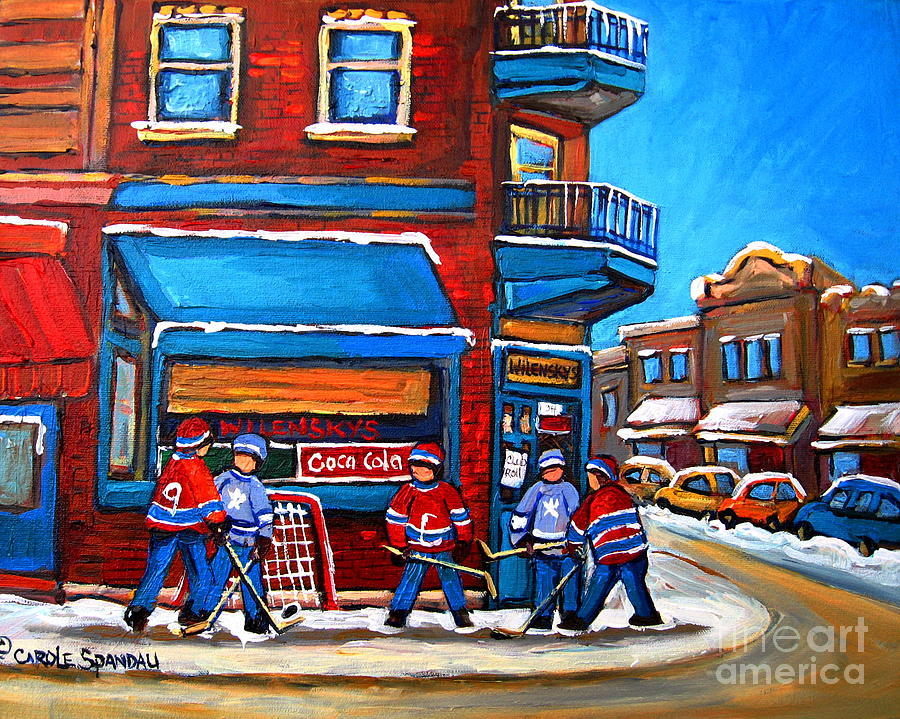 Hockey Game At Wilenskys Painting  - Hockey Game At Wilenskys Fine Art Print