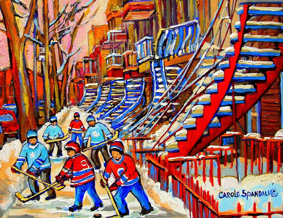 Hockey Game Near The Red Staircase Painting  - Hockey Game Near The Red Staircase Fine Art Print