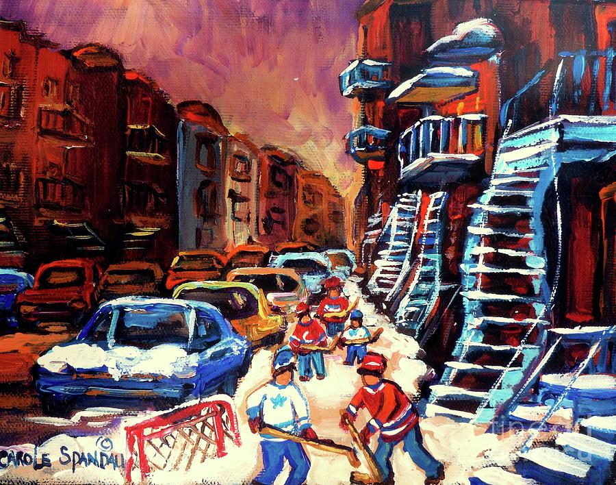 Hockey Paintings Of Montreal St Urbain Street Winterscene Painting