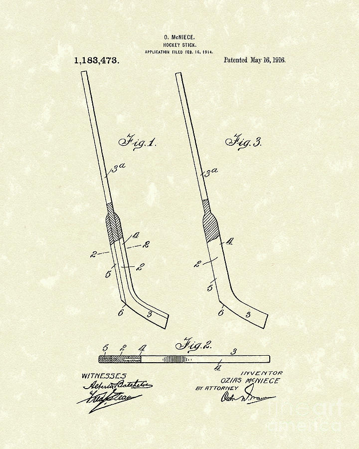 Hockey Stick Mcniece 1916 Patent Art Drawing  - Hockey Stick Mcniece 1916 Patent Art Fine Art Print