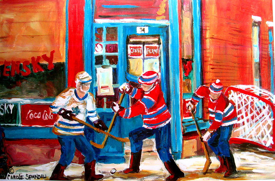 Hockey Sticks In Action Painting