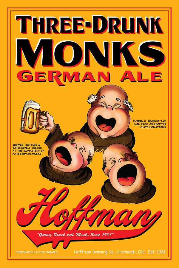 Hoffman Three Drunk Monks Drawing  - Hoffman Three Drunk Monks Fine Art Print