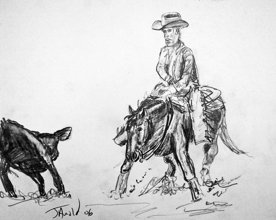 Holding The Cow Drawing by Jim  Arnold