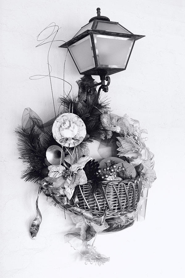 Holiday Photograph - Holiday Basket On Lamp Bw by Linda Phelps