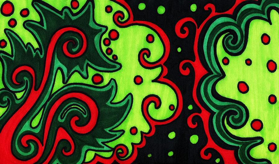 Holiday Colors Abstract Drawing  - Holiday Colors Abstract Fine Art Print
