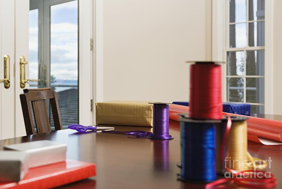 Holiday Ribbon On Table Photograph