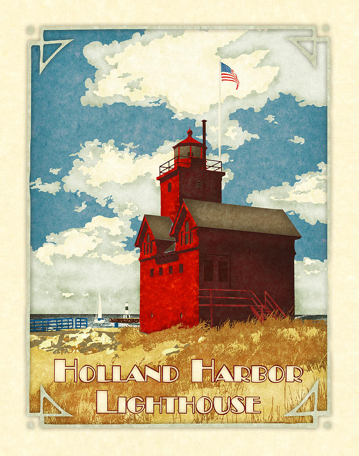 Holland Harbor Lighthouse Digital Art  - Holland Harbor Lighthouse Fine Art Print