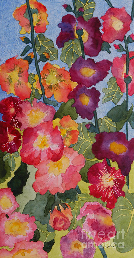 Hollyhocks In Bloom Painting  - Hollyhocks In Bloom Fine Art Print