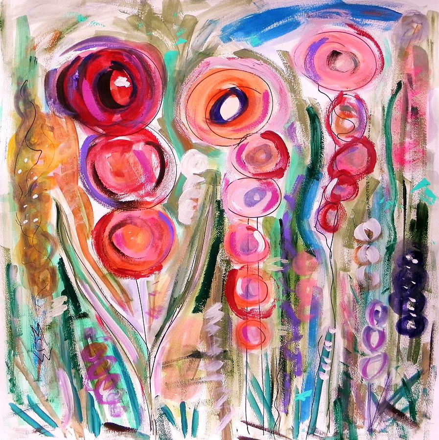 Hollyhocks Of The Garden Painting