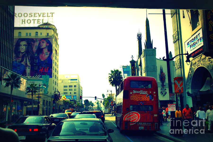 Hollywood Boulevard In La Photograph  - Hollywood Boulevard In La Fine Art Print