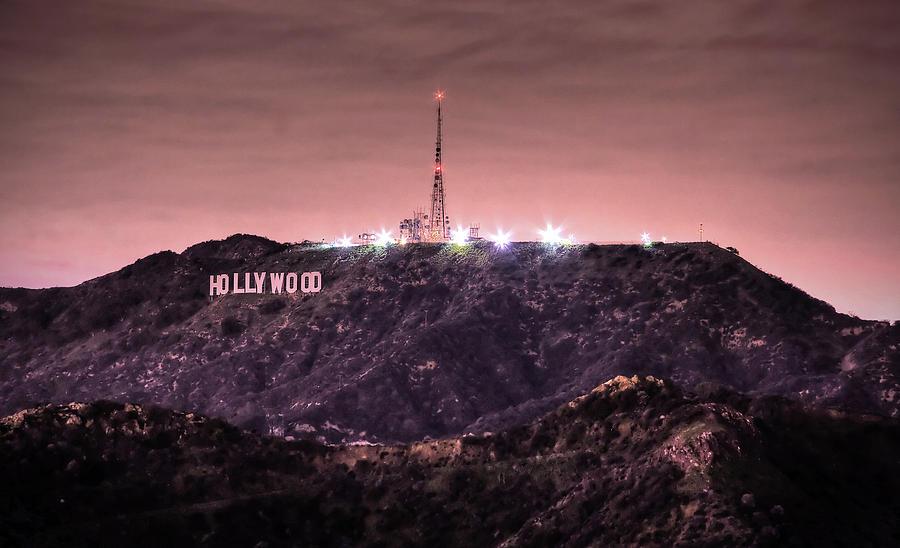 Hollywood Sign At Night Photograph