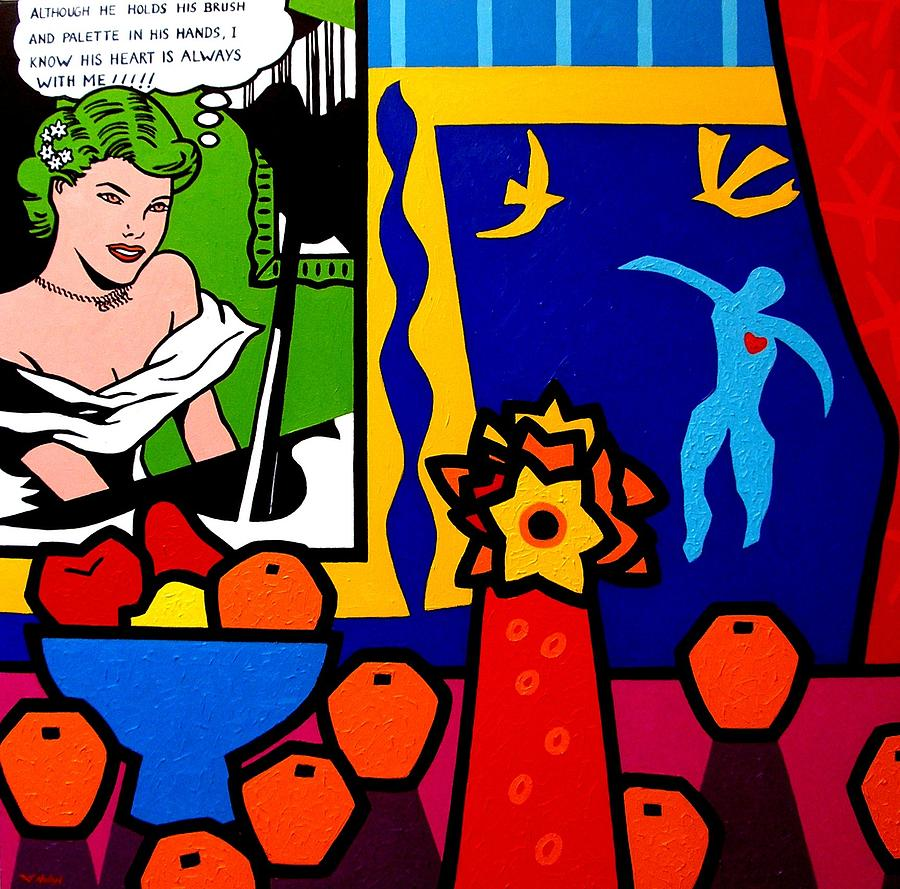 Homage To Lichtenstein And Matisse Painting  - Homage To Lichtenstein And Matisse Fine Art Print
