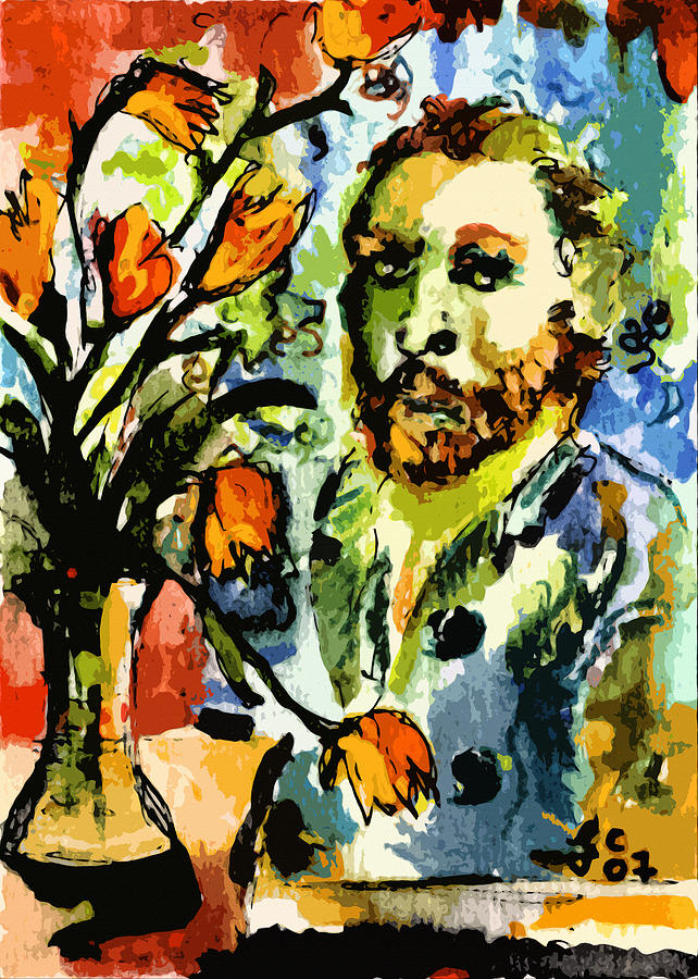Homage To Vangogh Tulips And Portrait Painting  - Homage To Vangogh Tulips And Portrait Fine Art Print