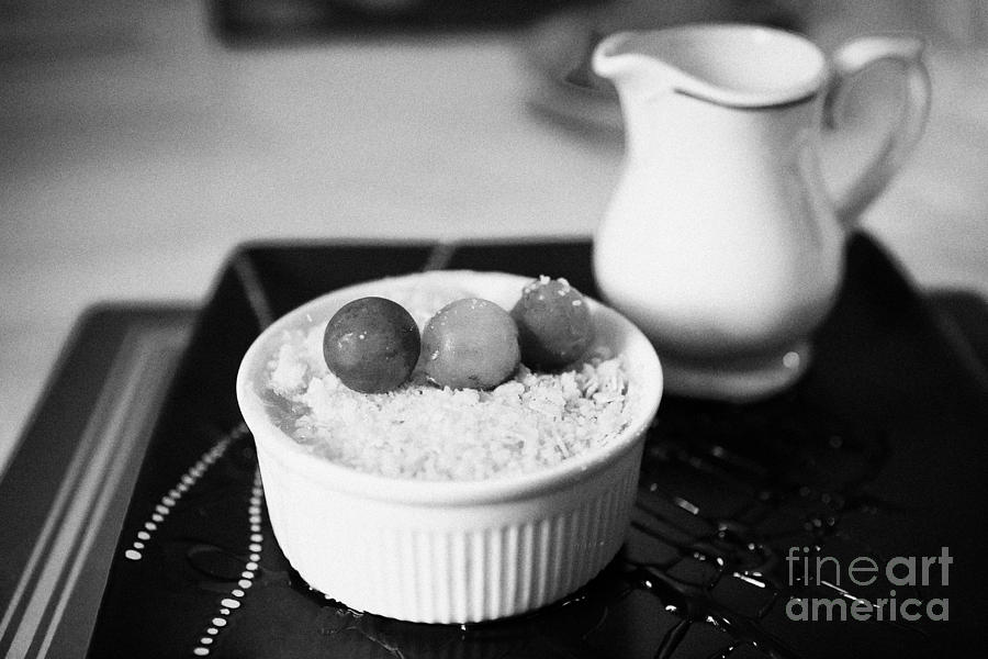 Home Photograph - Home Made Apple Crumble Dessert With Grapes Served In A Gastro Pub Scotland Uk by Joe Fox