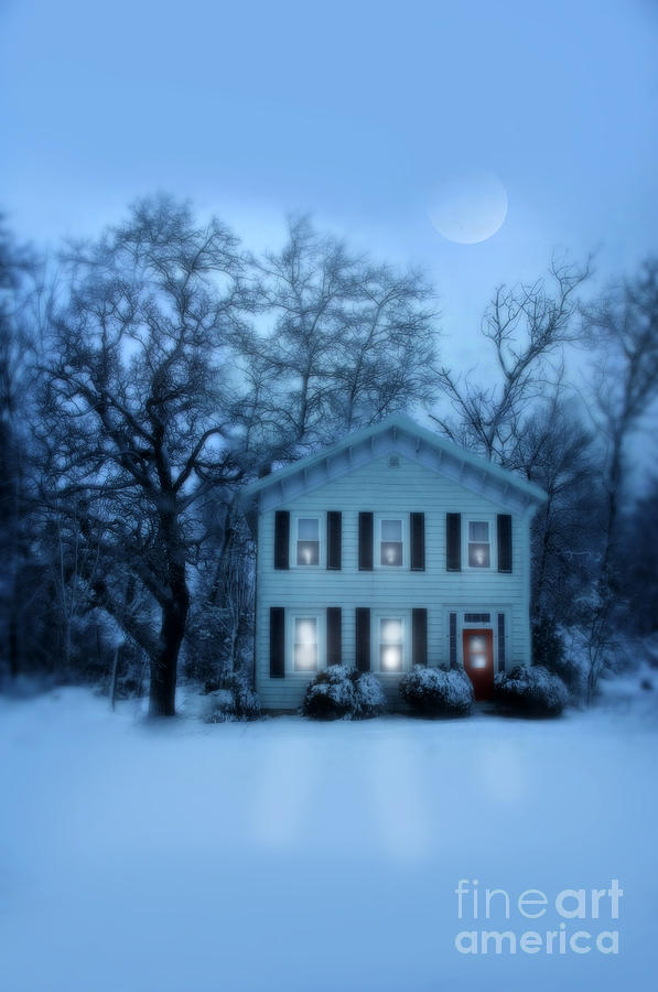 Home Photograph - Home On A Wintery Evening by Jill Battaglia