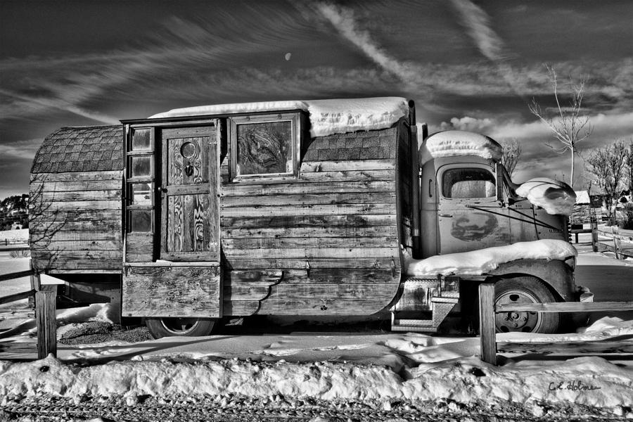 Home On Wheels - Bw Photograph