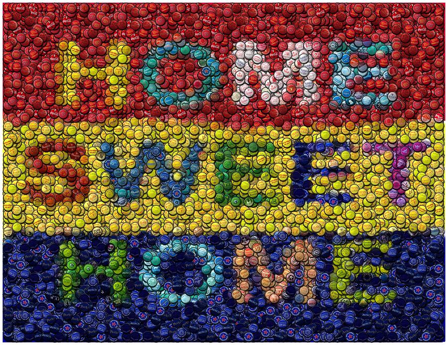 Home Sweet Home Bottle Cap Mosaic  Mixed Media  - Home Sweet Home Bottle Cap Mosaic  Fine Art Print
