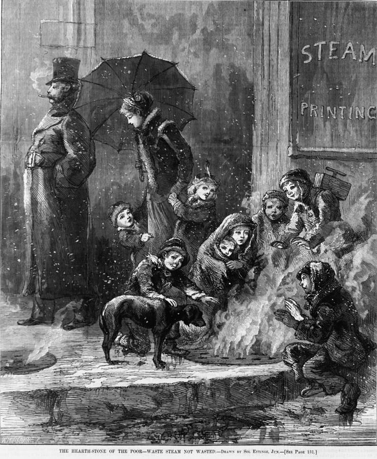 Homeless Women And Children Heating Photograph
