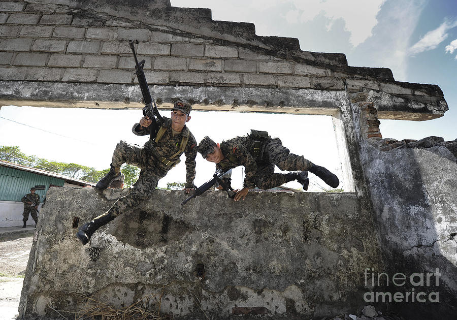 Honduran Army Soldiers Perform Building Photograph  - Honduran Army Soldiers Perform Building Fine Art Print