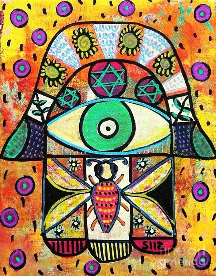 Honey Bee Hamsa Painting
