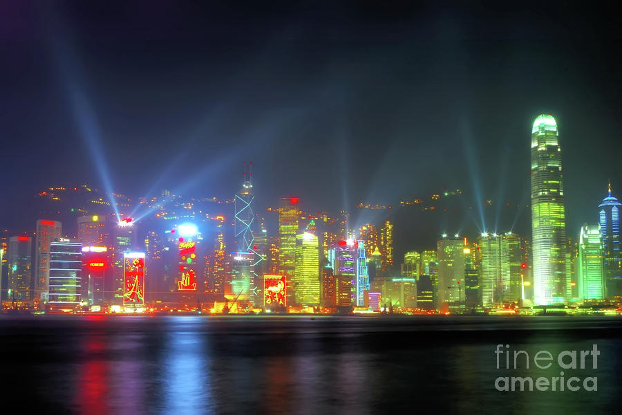 hong Kong Photograph - Hong Kong Night Lights by Bibhash Chaudhuri