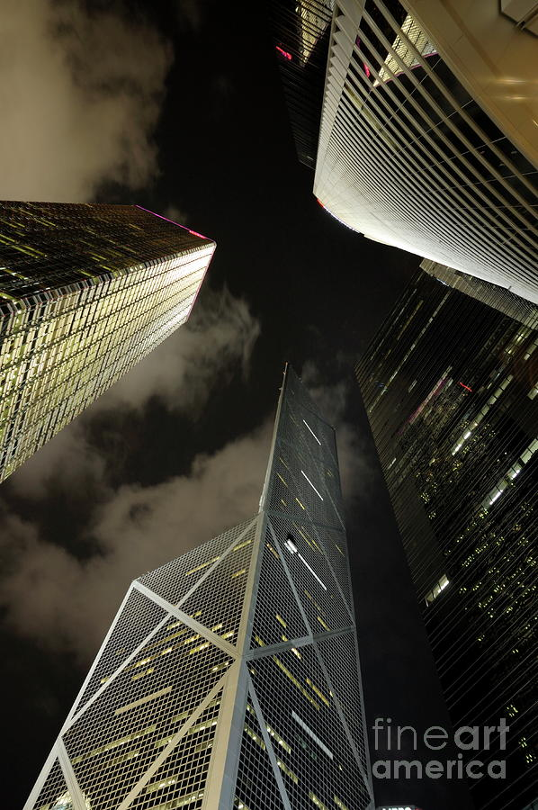 Hong Kong Skyscrapers At Night Photograph  - Hong Kong Skyscrapers At Night Fine Art Print