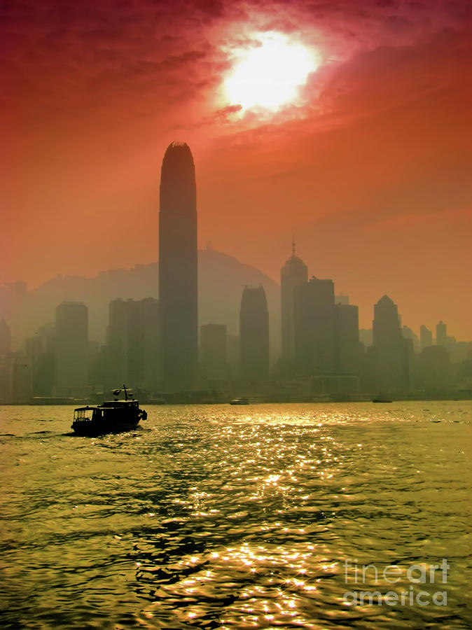 Hong Kong Sunset Photograph  - Hong Kong Sunset Fine Art Print
