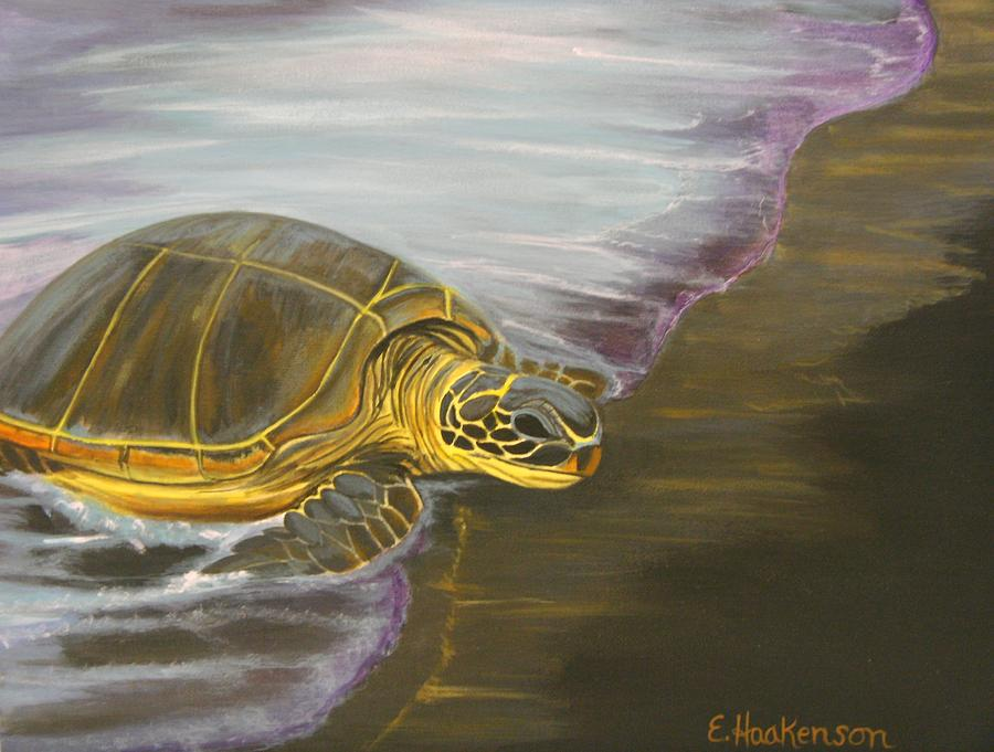 Honu On Black Sand Beach Painting