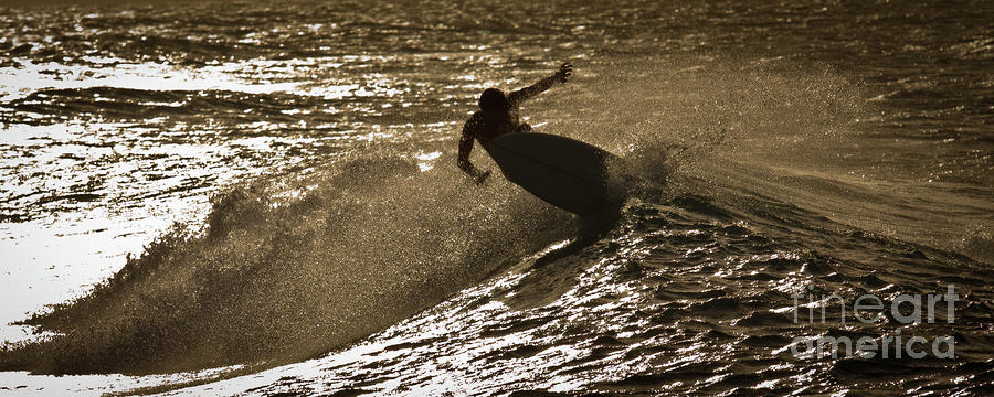 Hookipa Maui Surfer At Sunset Photograph