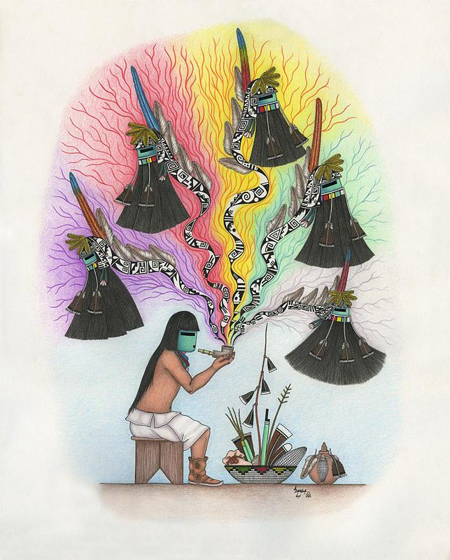 Hopi Peace Pipe by Alfred Dawahoya  Hopi Drawings