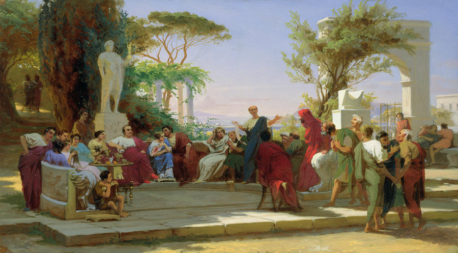 Horatius Reading His Satires To Maecenas Painting  - Horatius Reading His Satires To Maecenas Fine Art Print