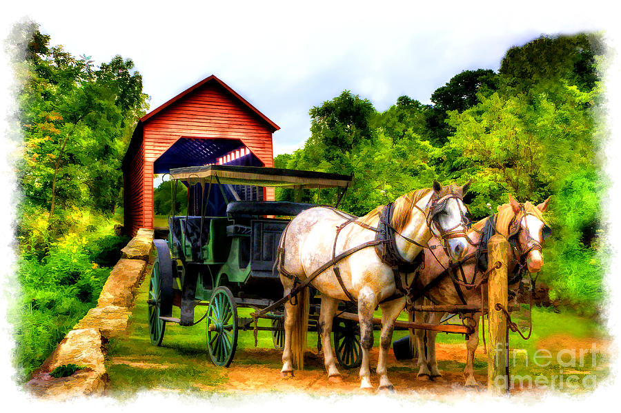 Horse And Buggy In Front Of Covered Bridge Photograph