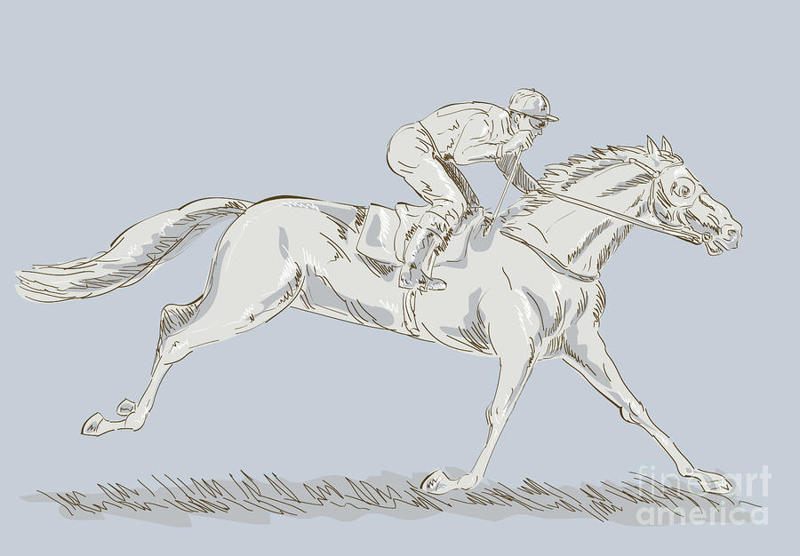 Horse And Jockey Digital Art