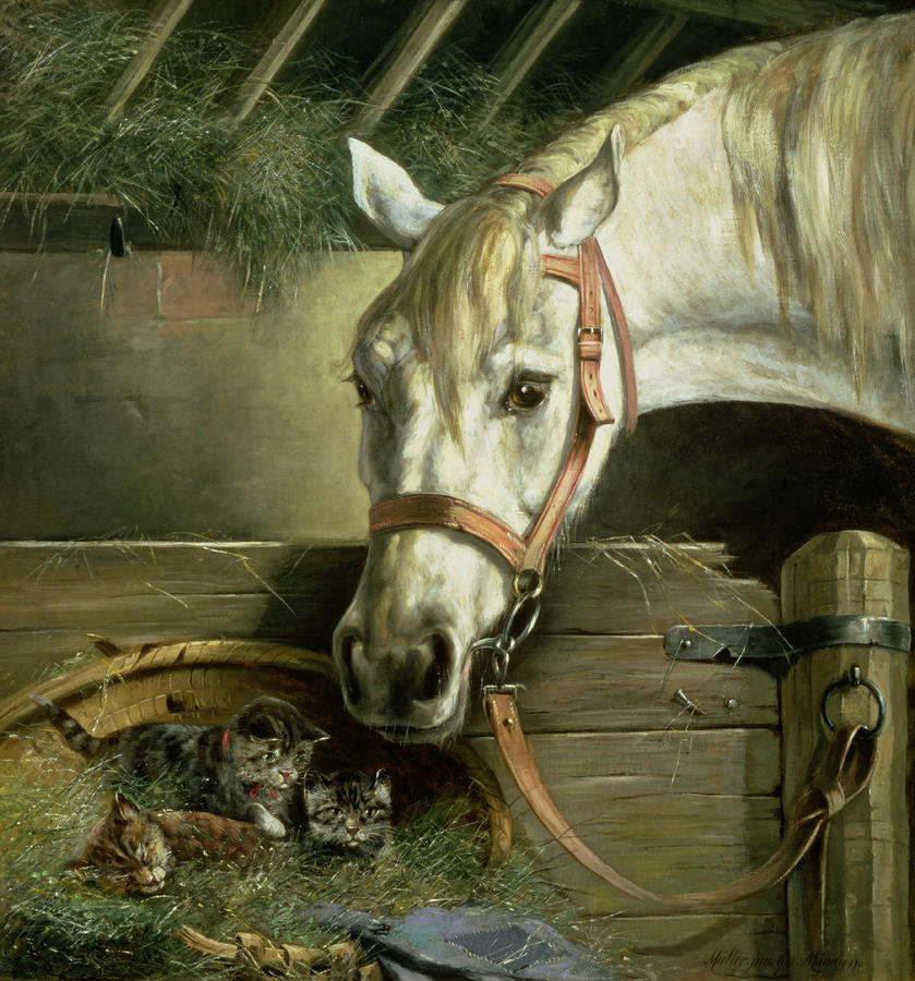 Horse And Kittens Painting  - Horse And Kittens Fine Art Print