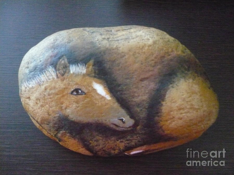 Rock Painting - Horse-colt by Monika Shepherdson